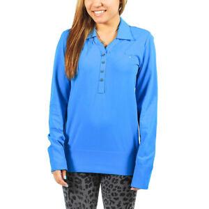 Women-039-s-PUMA-Golf-Seamless-Long-Sleeve-Blue-Aster-Polo-Shirt-size-XS-T44-65