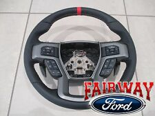 17 F-150 OEM Ford Black Leather w/ Red Accent Non-Heat Steering Wheel RAPTOR
