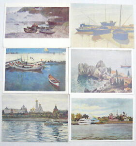 Vintage Nautical postcards Set of 32 Cards Ships  Drawing   USSR   Collage Photos
