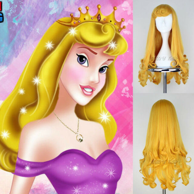 Sleeping Beauty Princess Aurora Long Curly Golden Anime Cosplay Costume Wig/wigs