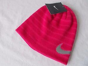 NWT-Nike-FADOR-BEANIE-Pink-Force-REFLECTIVE-SWOOSH-Warm-Cap-YOUTH-GIRLS-4A2512