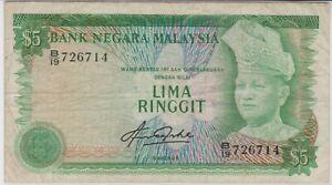 Mazuma *M1309 Malaysia Aziz Taha 4th $5 B/19 726714 1st Prefix VF