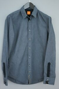 Men-Hugo-Boss-Orange-Label-Shirt-Blue-Cotton-Casual-Size-S-MAA877