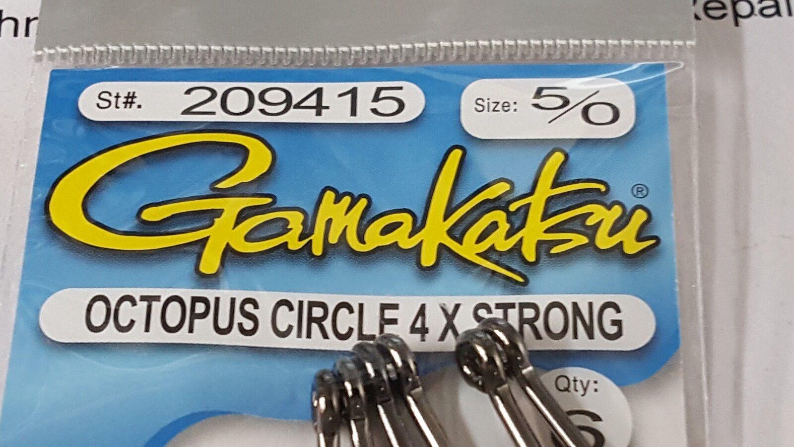 1 Pack Gamakatsu Octopus Circle 4X STRONG Hooks 5//0 #209415 6 Pack FREE SHIPPING