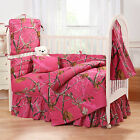 REALTREE AP FUCHSIA HOT PINK CAMO CRIB SET, CAMOUFLAGE BABY BEDDING 6 PIECES!