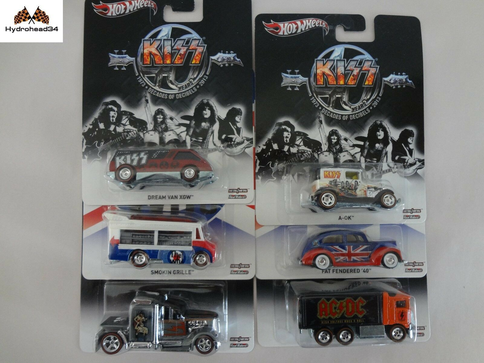Hot Wheels 2013 AC DC - KISS - The WHO  X8308-956F Set of 6 cars READ