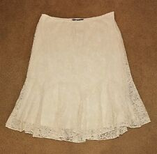 NEW! $175 POLO RALPH LAUREN WOMENS Cream Lace FIT&FLARE FLOUNCE WESTERN SKIRT 16