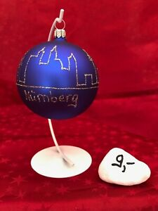 Sonderkugel Christbaumkugel Skyline Nürnberg inkl Ständer Handarbeit aus Lauscha