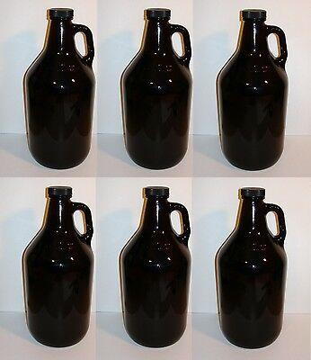 BEER GROWLERS 6 NEW HALF GALLON AMBER GLASS JUGS w/CAPS BREWING BOTTLES 1/2 GAL