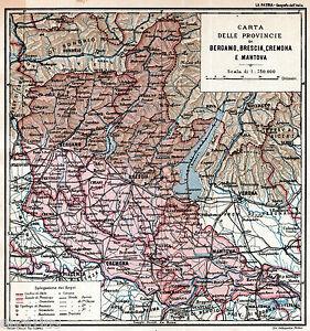 Cartina Geografica Della Provincia Di Mantova.Province Di Bergamo Brescia Cremona Mantova Carta Geografica Passepartout 1898 Ebay
