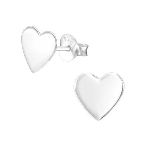 Gift Boxed Melchior Jewellery GIRLS Sterling Silver Plain HEART Stud Earrings