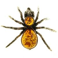 Baltic Amber Sterling Silver 925 Ladies Spider Brooch Pin Jewellery Jewelry Gift