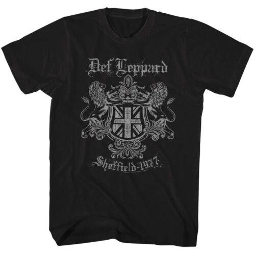 Def Leppard Sheffield 1977 Lion Crest Men/'s T Shirt Rock Band Music Tour Merch