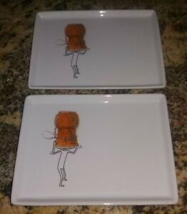have more CB2 Crate Barrel Set of 2 Oliver Appetizer Plates Cheese Jelly Bean