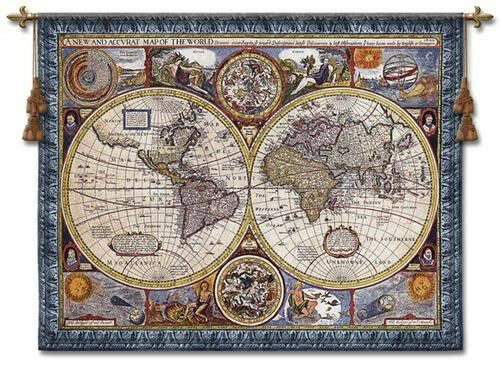 """Blue Vintage Map of the  World Map Wall Tapestry W/ROD 67""""Wx53""""H Antique Style"""
