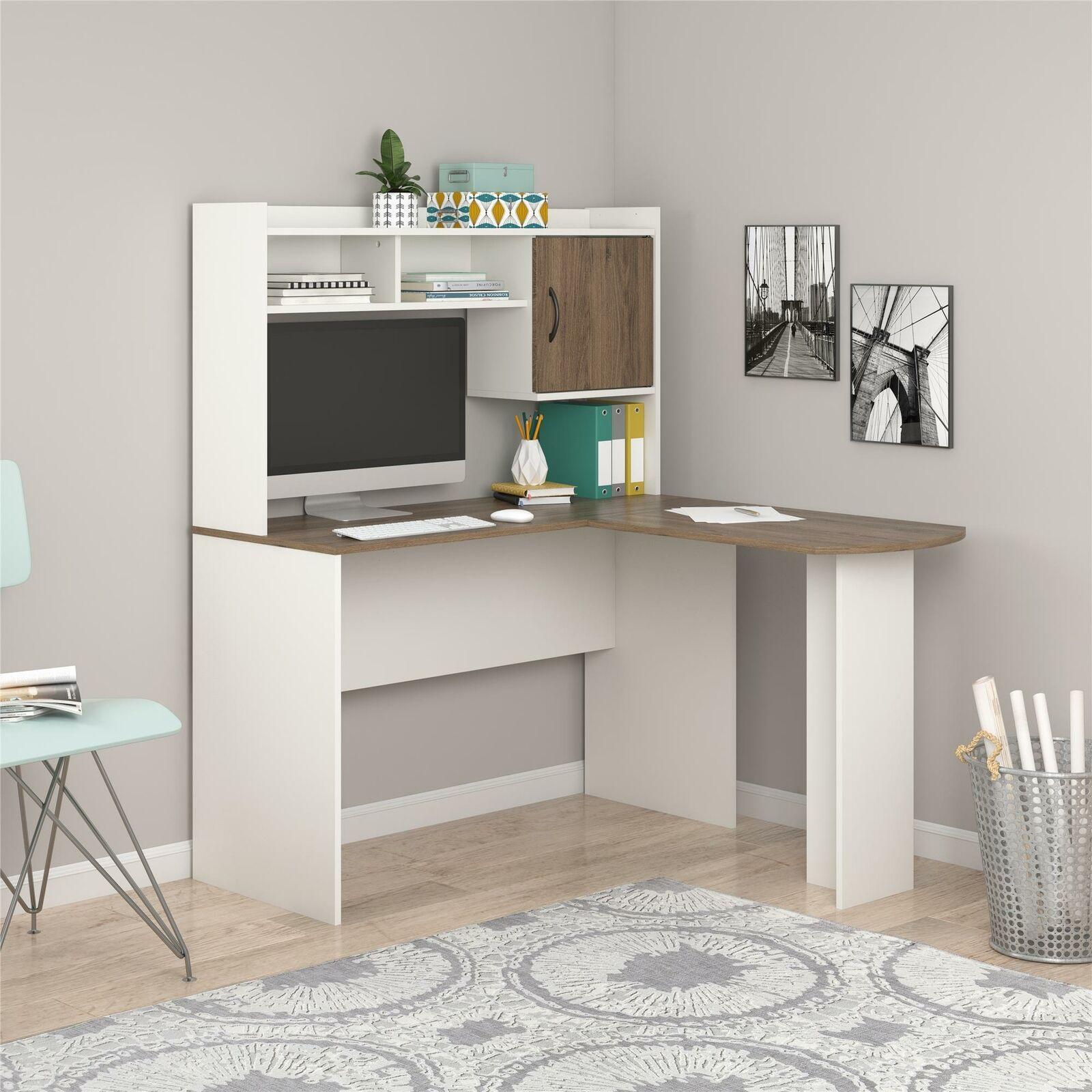 Picture of: Home Office Desks Aleko Cd03bk Contemporary Swivel Corner L Shaped Dark Brown For Sale Online Ebay