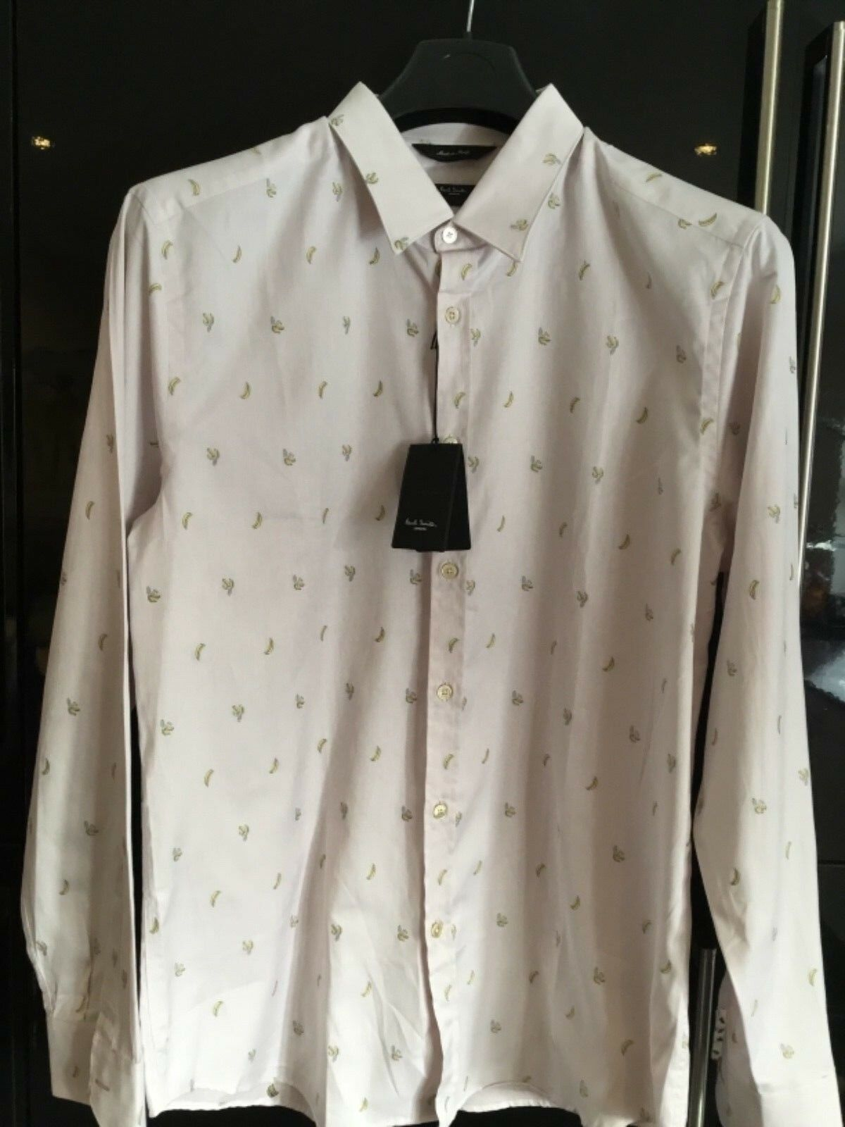 NEW PAUL SMITH NEW THE BYARD Shirt Mainline Size 17 HINT OF PINK BANANA SHIRT