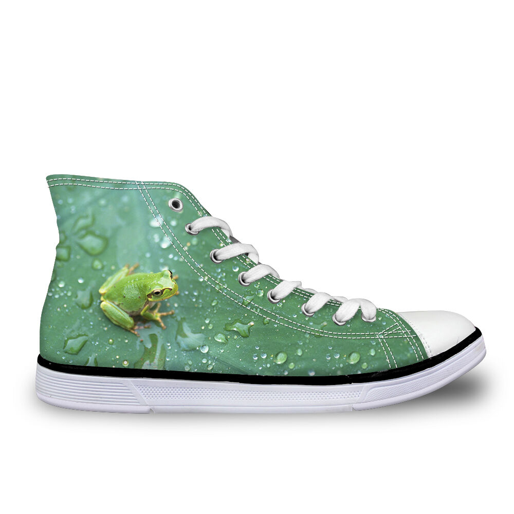 Green Leaf Frog Women Flat Walking shoes Vulcanized shoes Lace Up Comfy Trainers