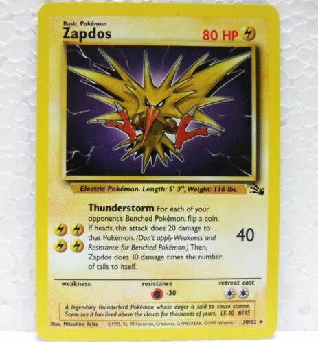 POKEMON set FOSSIL unlimited 30//62 inglese-MINT//NEAR MINT ZAPDOS