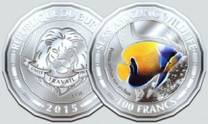 Burundi-100-francs-2015-UNC-Blue-Girdled-Angelfish-Fish-Sea-039-s-Amazing-Wildlife