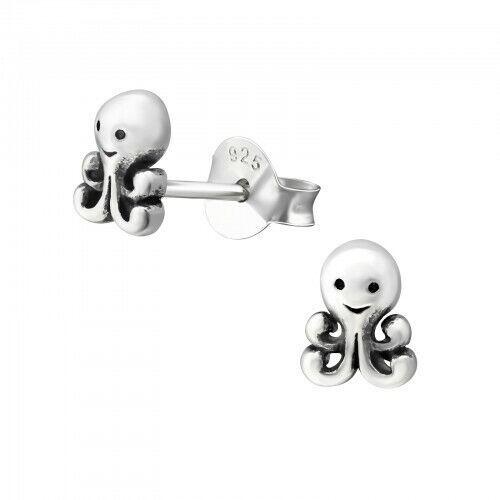 Niños Niñas Octopus Stud Pendientes de Plata de Ley-Bolsa