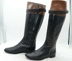 Cole-Haan-Boots-Womens-Sz-7-5-Inner-Zip-Belted-Equestrian-Riding-Knee-High-Boots