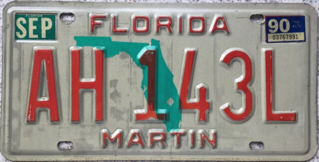 GENUINE Florida Green Map MARTIN Co. USA License Licence Number Plate AH 143L
