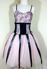 Pre Owned • Art Stone Adult Pink n Black Music Box Dancer Leotard Costume Dress
