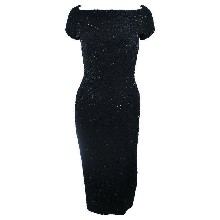 CEIL CHAPMAN Black Beaded Cocktail Dress Size 2 - image 1