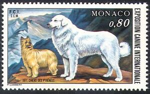 Monaco-1977-Dog-Pyrenean-Dogs-Animals-Nature-1v-n18670