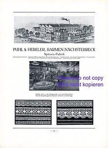 Spitzen-Fabrik-Puhl-amp-Hebeler-Barmen-XL-1926-Reklame-Spitze-Naechstebreck