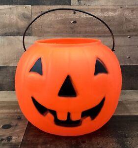 Vtg-Pumpkin-Jack-O-Lantern-Blow-Mold-Pail-Empire-Plastic-Buck-Teeth-7-034-MCM
