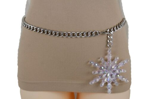 Women Hip Waist Belt Silver Metal Chain Winter Snowflake Buckle XS S M L XL XXL