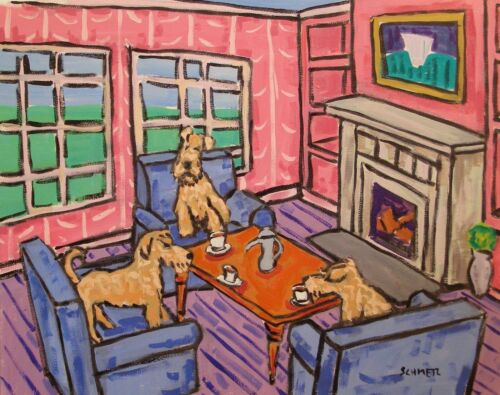 irish terrier  8.5x11 tea time  artist prints animals impressionism