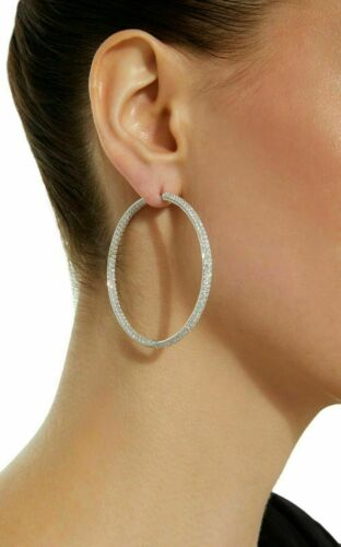 14k White Gold Over 3.50 CT Round Cut Diamond Women/'s Large Pave Hoop Earrings