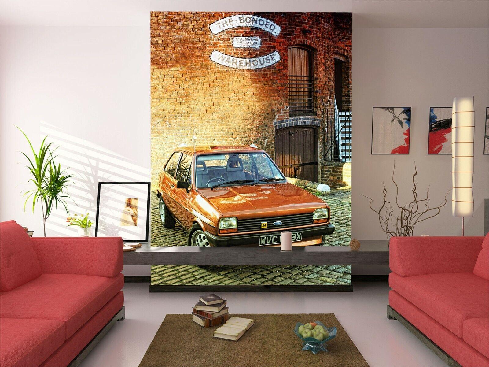 3D Orange Car I217 Transport Wallpaper Mural Sefl-adhesive Removable Angelia