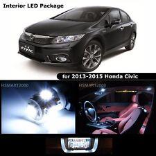 6PCS Cool White Interior LED Bulbs Package for 2013 Honda Civic Coupe Sedan