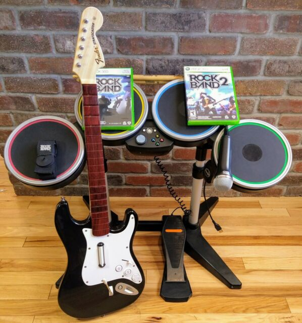 Microsoft XBOX 360 Rock Band WIRELESS Bundle -2 Games, Guitar, Drums, Mic. EUC!