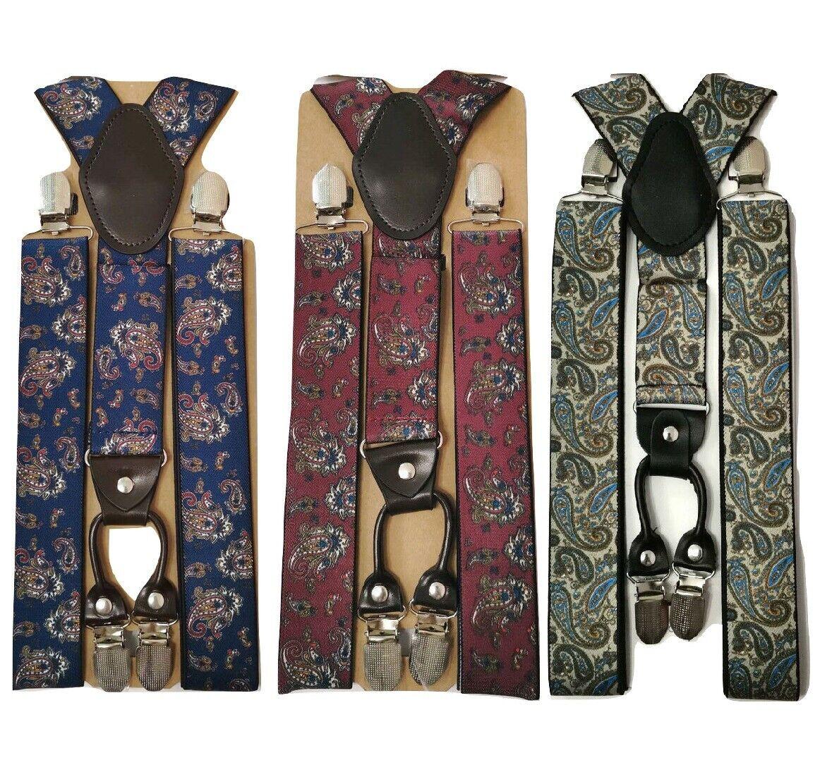 Standard Langlebig Herren Damen Hosenträger Straps Elastisch 3.5cm Breit Paisley