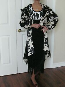Vintage 80/'s Black and White Plaid Dress or Duster