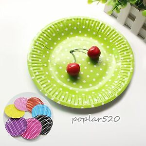 Image is loading 10PCS-7-inch-Polka-Dot-Paper-Plates-Birthday- & 10PCS 7 inch Polka Dot Paper Plates Birthday Party Tableware Handy ...