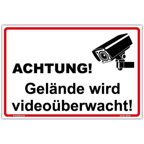"""Hinweisschild 300x200 mm /""""Gelände wird videoüberwacht/"""" Aluminiumverbundplatte 3m"""