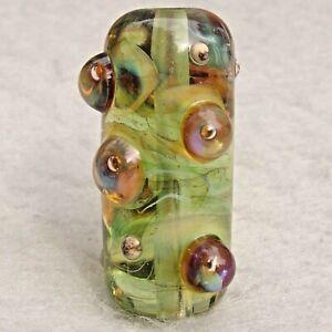 GREEN FAIRY Handmade Art Glass Focal Bead Flaming Fools Lampwork Art Glass SRA