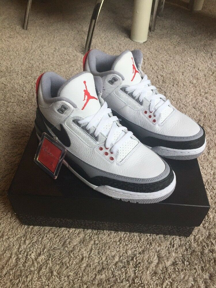DS MENS NIKE AIR JORDAN III 3 TINKER WHITE BLACK FIRE RED  AQ3835 160 US SZ 10