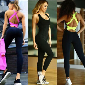 d75f0a23c2 Image is loading Fitness-YOGA-Legging-Jumpsuit-Athletic-Gym-Clothes-Pants-