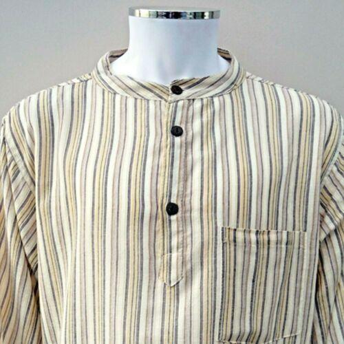 Hippy Casual Unisex Camicia Serafino in cotone PANNA RIGHE-Fair Trade Regno Unito Venditore