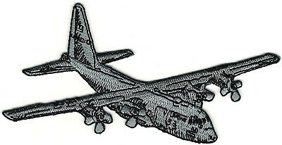 Grey C-130 Hercules Transport Plane Starboard View In Flight Embroidered Patch