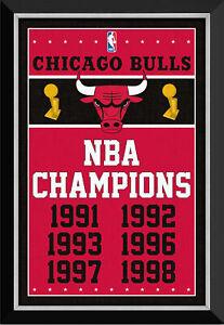 Chicago Bulls NBA Championships Banner - Framed Canvas