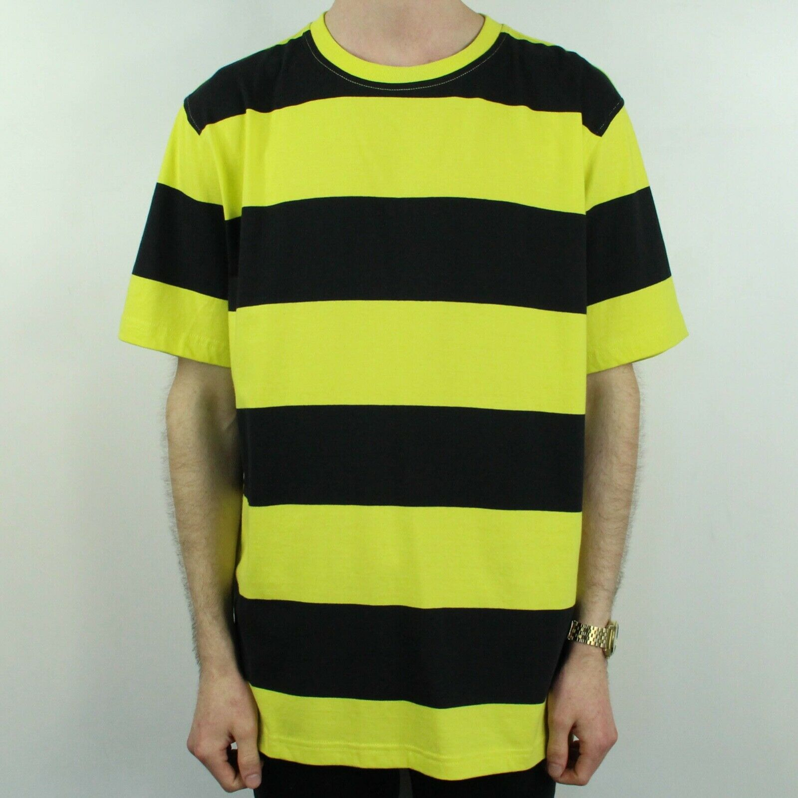 Stussy Bold Stripe Crew T-Shirt Tee Brand New in Lime in size S,M,L