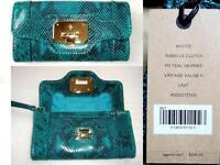 $218 Cole Haan Isabelle Vintage Valise Ii Clutch Wristlet Snake Leather Grn